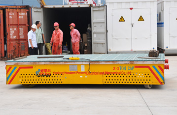 15t to 25t load capacity trackless transfer cart on cement floor
