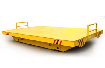 Manual pull material transfer flat wagon on rail transfer wagon