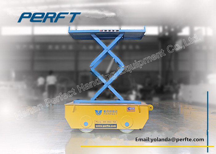 Scissor hydraulic lifting and Electric material handling rail transfer cart